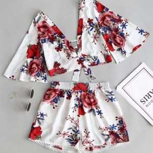 Pants - Two Piece Floral Short Set Ted White & Blue